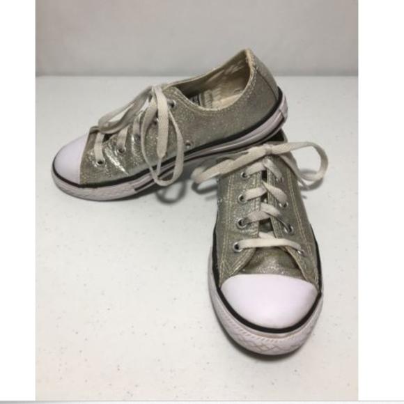 15e24f15cc3c Converse Other - Silver Glitter Converse Kids 2 Shiny Unique Shoes
